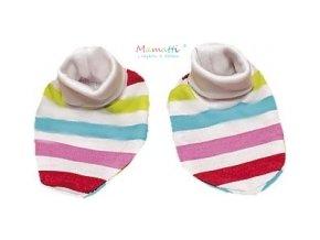 Botičky/ponožtičky BAVLNA Mamatti - Pruhy růžovo-červeno-modré