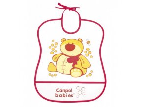 Canpol Babies Plastový bryndák měkký Happy Animals  červený