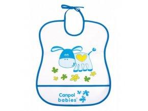 Canpol Babies Plastový bryndák měkký Happy Animals modrý