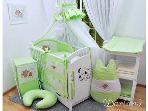 Dětské povlečení na polštář a přikrývku - sada s výšivkou soviček zelená