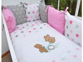 Darland 14-dílná sada s výšivkou Medvídci Hvězdy růžové 120x90