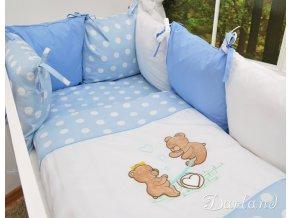 Darland 14-dílná sada s výšivkou Medvídci Puntíky modré 120x90