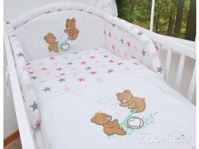 Darland 2-dílné povlečení Medvídci na houpačce hvězdy růžovošedé