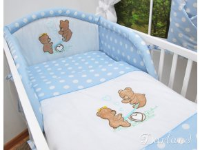 Darland 2-dílné povlečení Medvídci na houpačce Puntíky modré