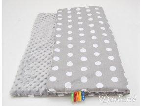 DARLAND Deka MINKY 75x100 Puntíky bílé na šedém/šedá
