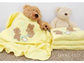 Deka fleece s výš.medvídka na houpačce žlutá