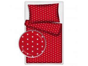 Dětské povlečení 140x200,70x90 Hvězdičky bílé podklad červený