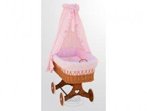 Dětský koš (kočárek) z podvozkem Scarlett Méďa růžový