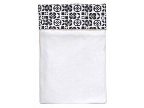 Emitex Deka bavlna + microfleece 70x100 cm Bílá/kytky černobílé