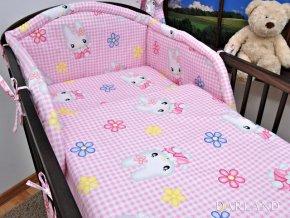 2-dílné povlečení Zajíčci na růžové kostičce 120x90