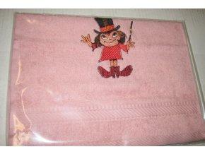 Froté ručník růžový s výšivkou Malá čarodějnice