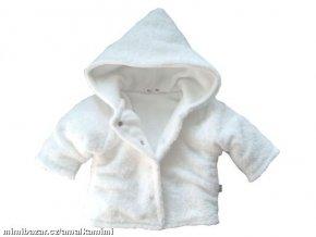 Hřejivý chlupatý kabátek s kapucí bílý vel.56-62