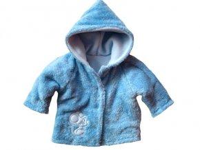 Hřejivý chlupatý kabátek s kapucí modrý vel.56-62