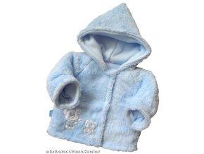 Hřejivý chlupatý kabátek s kapucí světle modrý vel.56-62