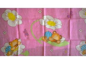 Plena s potiskem Méďa s květinkou růžový