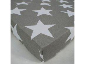 Prostěradlo s potiskem Hvězdy bílé velké na šedém