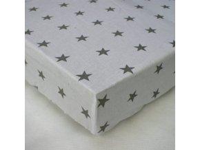 Prostěradlo s potiskem Hvězdičky šedé na bílém