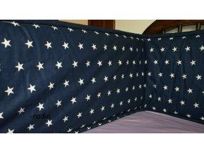 Rovný vysoký mantinel do postýlky Hvězdičky bílé na modrém