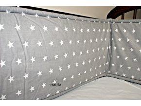 Nadia Rovný vysoký mantinel kolem celé postýl Hvězdičky bílé na šedém