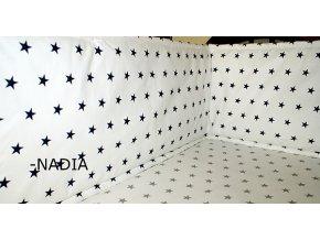 Nadia Rovný vysoký mantinel kolem celé postýl Hvězdičky modré na bílém