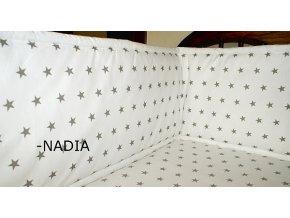 Nadia Rovný vysoký mantinel kolem celé postýl Hvězdičky šedé na bílém