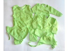 Souprava do porodnice s výšivkou 5-dílná zelená