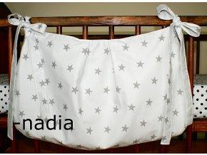 Taška na postýlku - Hvězdičky šedé na bílém