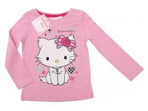 Tričko s dlouhým rukávem Kitty sv. růžová srdíčka vel.98