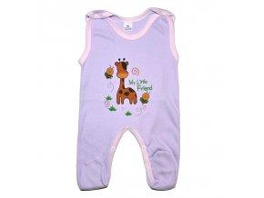 Bavlněné dupačky se žirafkou vel.56 fialové
