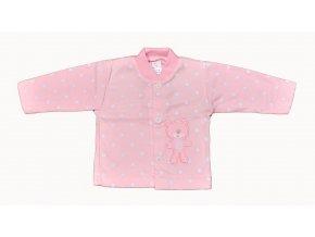 Bavlněný kabátek Medvídek růžový bílé tečky vel.56