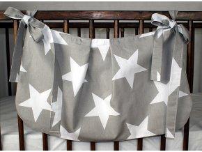 Taška na postýlku - Hvězdy velké bílé na šedém