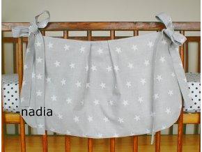Taška na postýlku - Hvězdičky bílé na šedém