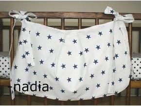Taška na postýlku - Hvězdičky modré na bílém