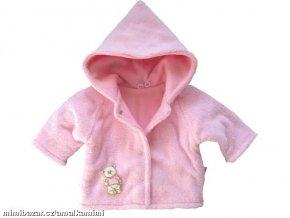 Hřejivý chlupatý kabátek s kapucí růžový vel.56-62
