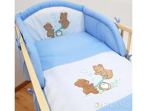 Darland 3-dílná sada s výšivkou medvídek na houpačce modrá