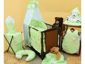 Dětské povlečení na polštář a přikrývku - medvídci na žebřících zelení provedení