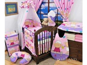 Dětské povlečení na polštář a přikrývku - Ovečky růžovo-fialové provedení