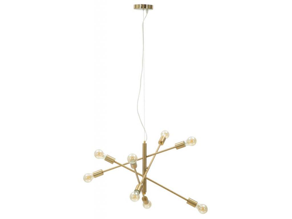 Zlaté závěsné svítidlo Mauro Ferretti Chaos 8 svítidel, 64x46 cm
