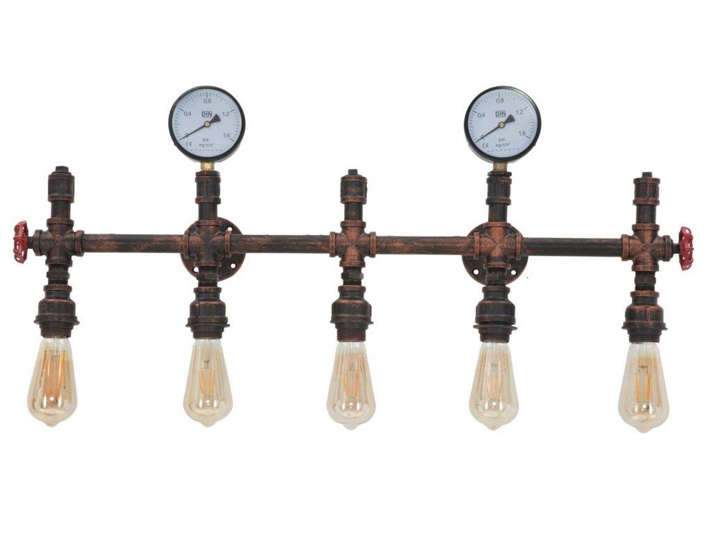 Nástěnné svítidlo Mauro Ferretti Wariano 5 svítidel, 86x9x32 cm, černá/měděná