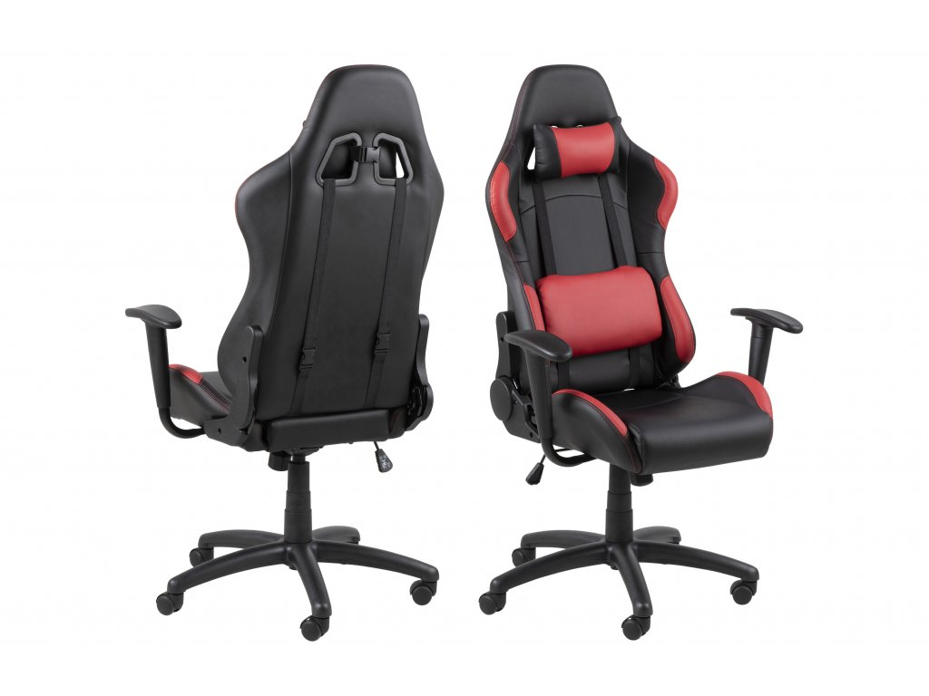 pic serv12 PhotoManagerPublicMasters Products 0000079315 bradley game chair leather look black pu red pu armrest back nylon black