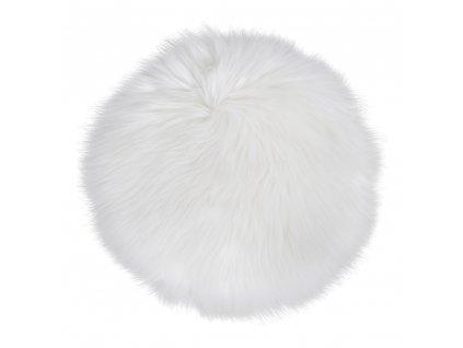 Bílý kulatý sedák Enivo z umělé jehněčí kožešiny