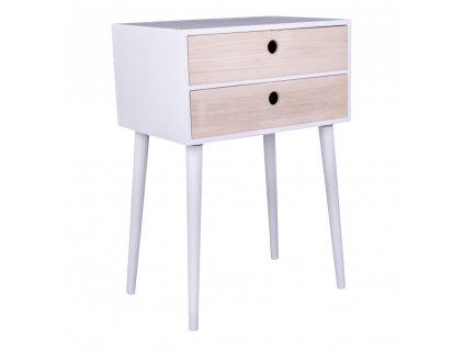 Bílý/přírodní noční stolek Macy se dvěma šuplíky
