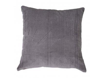 Tmavě šedý manšestrový polštář Reja