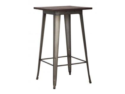 Barový stolek Mauro Ferretti Derto 60x60x105 cm, šedá/hnědá