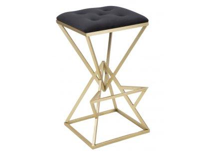 Barová stolička Mauro Ferretti Pyrmo 40x40x75 cm, zlatá/černá