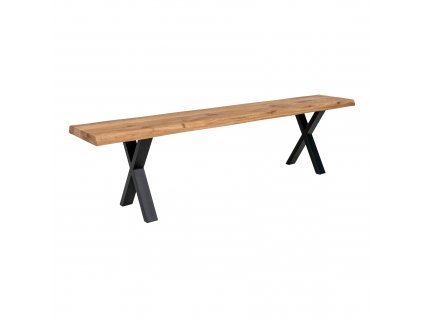 Dubová jídelní lavice Tamko z masivu 180 cm, přírodní/černá