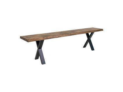 Dubová jídelní lavice Tamko z masivu 180 cm, tmavě hnědá/černá