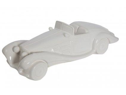 Bílá keramická dekorace Mauro Ferretti Car, 43x16x13 cm