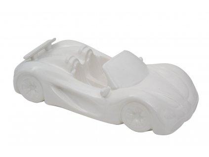 Bílá keramická dekorace Mauro Ferretti Car II, 31,5x14,5x9 cm