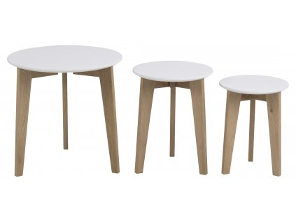 pic serv12 PhotoManagerPublicMasters Products 0000049335 abin nest of tables wooden top lacq white base oak untreated set of 3 pcs 50xh50 round orig act002